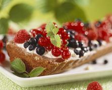 Mixed berry tart Stock Photos