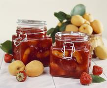 Apricot and strawberry preserve Stock Photos