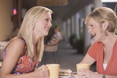 Two women in a café Stock Photos