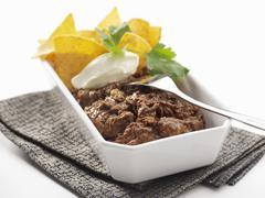 Chili con carne with nachos Stock Photos