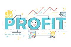 Profit word lettering Stock Illustration