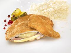 Chicken Cordon Bleu with rice and pineapple Stock Photos