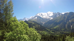 Winter Alps mountains, POV view to Mont Blanc from train running to Montenver Stock Footage