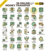 Online money transfer payment icons Stock Illustration