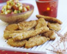 Breaded chicken strips (party food) Stock Photos