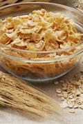 Cornflakes in a glass bowl Stock Photos