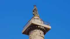 Column of Marcus Aurelius at Square Piazza Colonna in Rome Stock Footage
