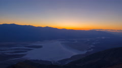 Time Lapse of Sunset Afterglow over Badwater in Death Valley -Tilt Up- Stock Footage