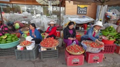 Strawberry sellers in Dalat city Stock Footage