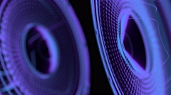 Vj musical seamless loop - neon speakers. 3D render Stock Footage