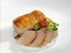 Fleischkäse (a type of meatloaf) with paprika Stock Photos