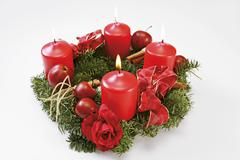 An Advent wreath with red candles Stock Photos