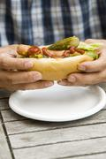 Man's hands holding a hot dog Stock Photos