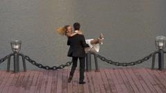 Happy groom spinning beautiful bride Stock Footage