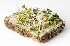 Radish sprouts on buttered whole-grain bread Stock Photos