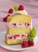 A piece of raspberry ring cake Stock Photos