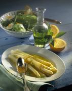 Asparagus salad with orange vinaigrette Stock Photos