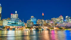 4k hyperlapse video of Darling Harbour of Sydney from day to night Stock Footage