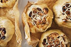 Whole Roasted Garlic Bulbs Stock Photos