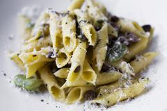 Penne Pasta with Fava Beans, Mushrooms and Parmesan Cheese Stock Photos