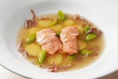 Soup with trout fillet, potatoes and leeks Stock Photos