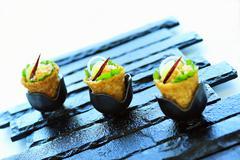 Duck salad in crispy baskets Stock Photos