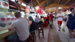 People who are shopping and selling at Ben Thanh Market Stock Footage