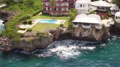 Aerial Santo Domingo seashore houses, Dominican Republic Stock Footage