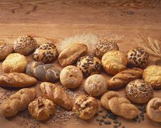 Still life with various types of bread rolls Stock Photos