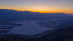 Time Lapse of Sunset Afterglow over Badwater in Death Valley -Pan Right- Stock Footage