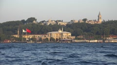 The view of Basketmakers' Kiosk and Topkapi Palace over Golden Horn bay, Ista Stock Footage