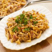 Macaroni Skillet Dinner with Salsa and Sausage Stock Photos