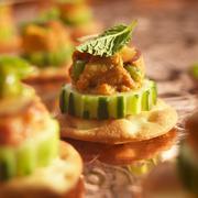 Chicken Tikka Amuse Bouche on Cucumber and Cracker Stock Photos
