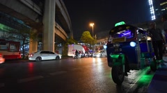 Bangkok evening streets traffic near MBK Stock Footage