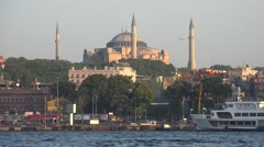 The view of Hagia Sophia Museum over Golden Horn, Istanbul, Turkey Stock Footage