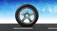 The wheel with new tires is rolling from left to right - alpha-matte Stock Footage