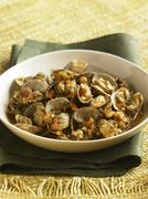 Clams with Tomatoes in Broth Stock Photos