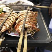 Fresh Roasted Prawns at a Cambodian Market Stock Photos