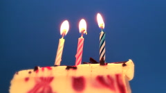 Happy Birthday cake with burning spiral candles in dream style border Stock Footage