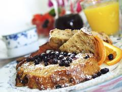 French Toast with Blueberries and Powdered Sugar Stock Photos