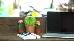 Wood desk with a laptop ,Outdoor workplace under big tree. Stock Footage