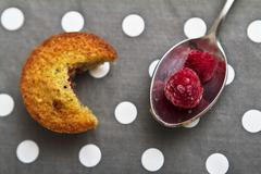 Financiers with raspberries Stock Photos