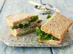Ham sandwich with watercress Stock Photos