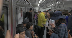 People traveling in subway. Seoul, South Korea Stock Footage