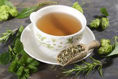 A cup of herbal tea surrounded by ingredients Stock Photos