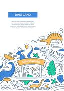 Dinoland - line design brochure poster template A4 Stock Illustration