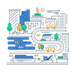 City Life - line design composition Stock Illustration
