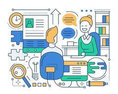 Job Interview - line design composition Piirros