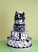 A multi-tier black-and-white wedding cake Stock Photos