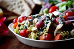 Pasta Salad with Grilled Chicken Stock Photos